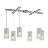 Ice Fragments 6 Light Pendant In Satin Nickel & Clear Glass