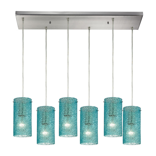 Ice Fragments 6 Light Pendant In Satin Nickel & Aqua Glass