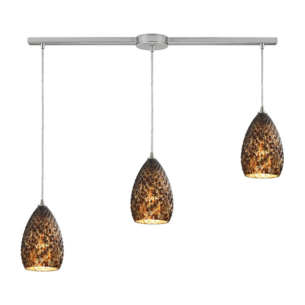 Contemporary Geval 3 Light Pendant In Satin Nickel