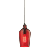 "Hammered Glass 1 light mini pendant in Bronze & Red Glass - 5""x10"""
