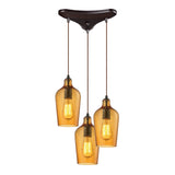 "Hammered Glass 3 light chandelier in Bronze & Amber Glass - 10""x10"""