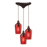 "Hammered Glass 3 light chandelier in Bronze & Red Glass - 10""x10"""