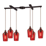 "Hammered Glass 6 light chandelier in Bronze & Red & Red Glass - 33""x10"""