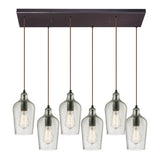 "Hammered Glass 6 light chandelier in Bronze & Clear Glass - 30""x10"""