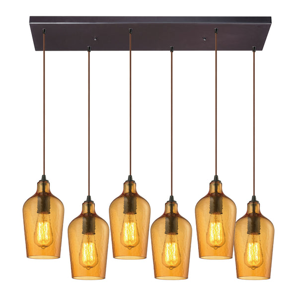 "Hammered Glass 6 light chandelier in Bronze & Amber Glass - 30""x10"""