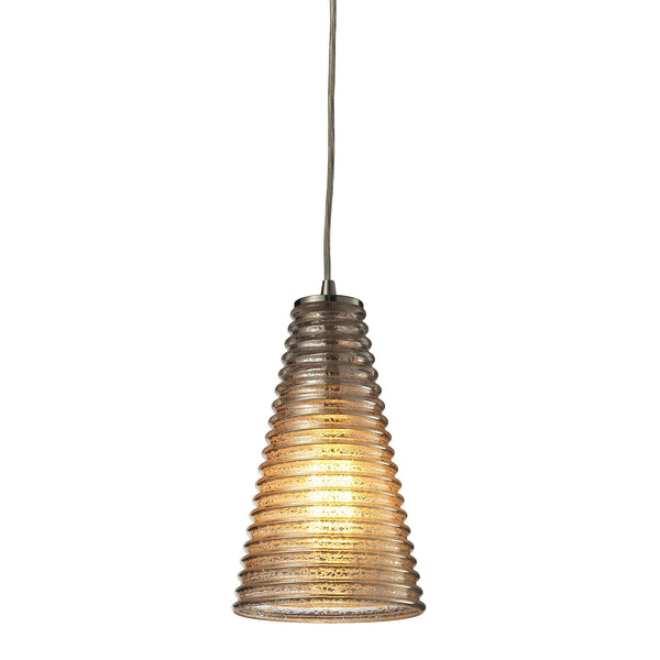Ribbed Glass Collection 1 light mini pendant in Satin Nickel
