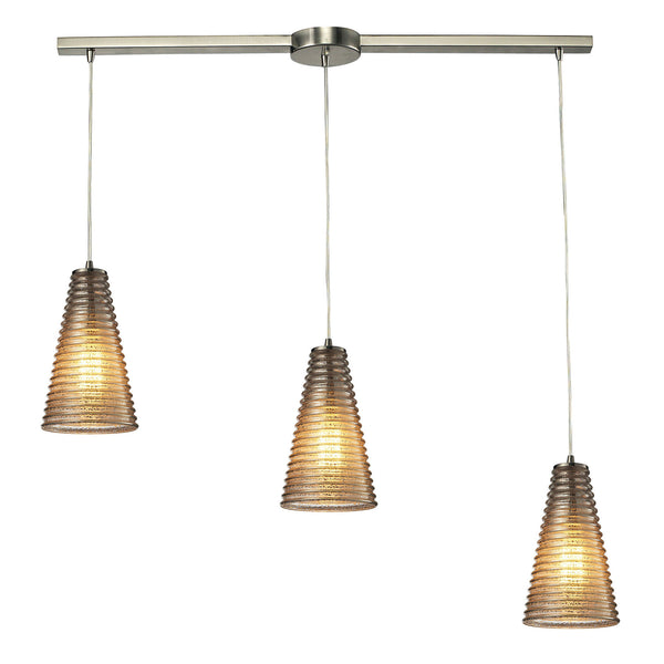 Ribbed Glass Collection 3 light chandelier in Satin Nickel