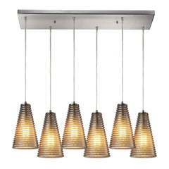 Ribbed Glass Collection 6 light chandelier in Satin Nickel
