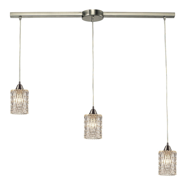 Kersey Collection 3 light chandelier in Satin Nickel