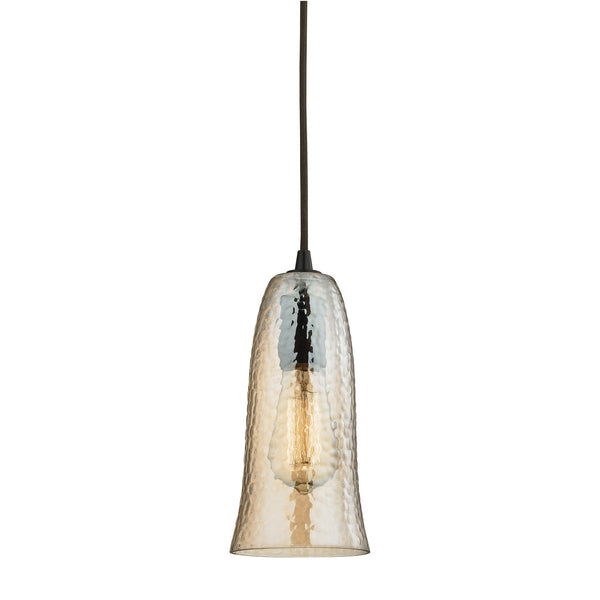 "Contemporary Hammered Glass 1 Light Pendant In Bronze/Amber Glass - 5""x10"""