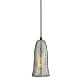 "Contemporary Hammered Glass 1 Light Pendant In Bronze/Mercury Glass - 5""x10"""