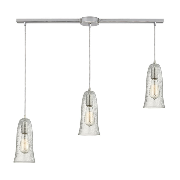 "Contemporary Hammered Glass 3 Light Pendant In Nickel/Clear Glass - 36""x10"""