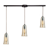"Contemporary Hammered Glass 3 Light Pendant In Bronze/Amber Glass - 36""x10"""