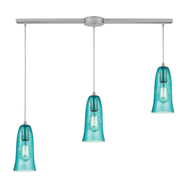 "Contemporary Hammered Glass 3 Light Pendant In Nickel/Aqua Glass - 36""x10"""