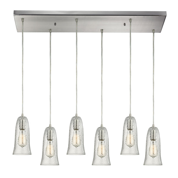 "Contemporary Hammered Glass 6 Light Pendant In Nickel/Clear Glass - 30""x10"""