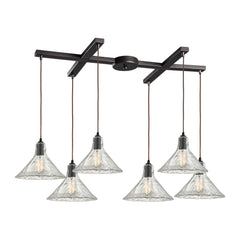 Hand Formed Glass 6 Light Pendant In Oil Rubbed Bronze