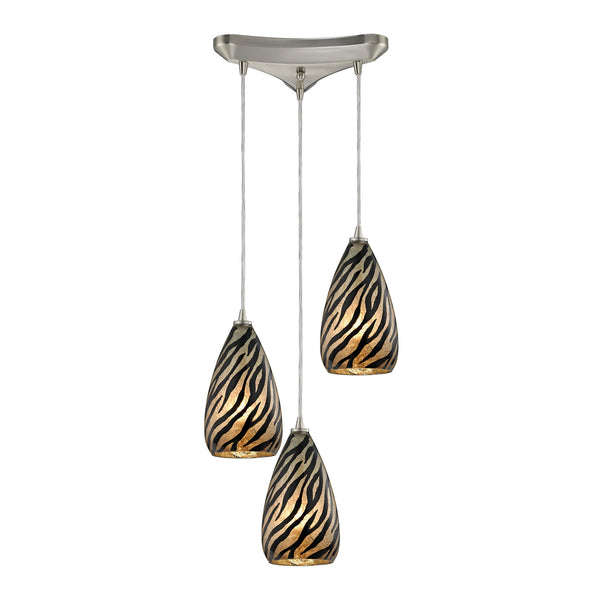 Predator 3 Light Pendant In Satin Nickel