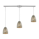 "Fissure 3 Light Contemporary Pendant In Satin Nickel & Silver - 36""x7"""