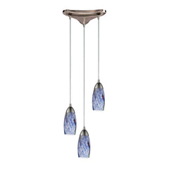 "Contemporary 3 Light Pendant In Satin Nickel & Starlight Blue Glass - 10""x7"""