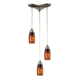 "Contemporary 3 Light Pendant In Satin Nickel & Espresso Glass - 10""x7"""