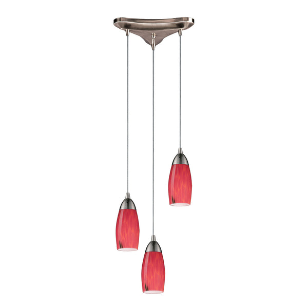 "Contemporary 3 Light Pendant In Satin Nickel & Fire Red Glass - 10""x7"""