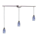 "Contemporary 3 Light Pendant In Satin Nickel & Starlight Blue Glass - 36""x7"""