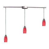 "Contemporary 3 Light Pendant In Satin Nickel & Fire Red Glass - 36""x7"""