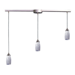 "Contemporary 3 Light Pendant In Satin Nickel & Snow White Glass - 36""x7"""