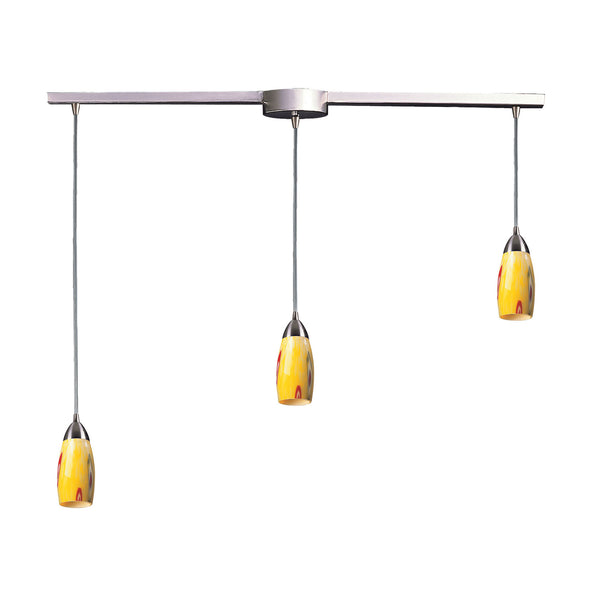 "Contemporary 3 Light Pendant In Satin Nickel & Yellow Blaze Glass - 36""x7"""