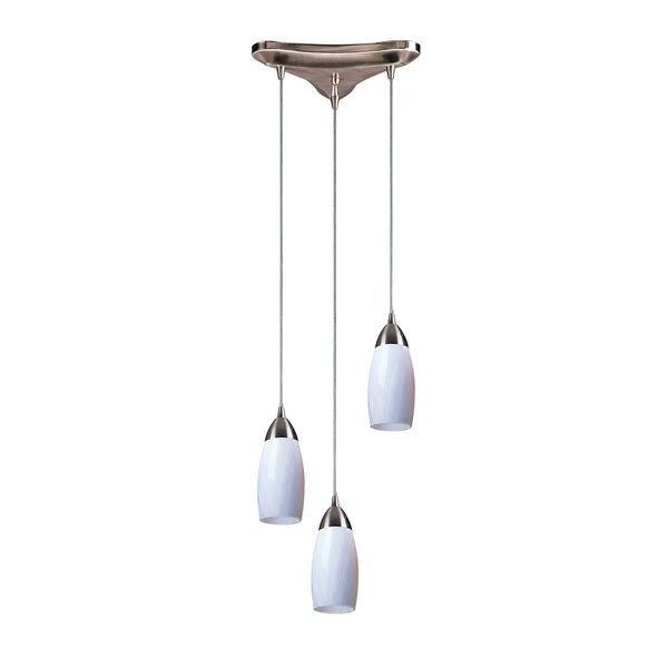 3 Light Pendant In Satin Nickel & Simply White Glass - 10''x7''