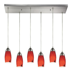 Contemporary Milan 6 Light Pendant In Satin Nickel & Fire Red Glass - 30''x9''