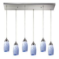 Contemporary Milan 6 Light Pendant In Satin Nickel & Snow White Glass - 30''x9''