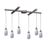 Contemporary 6 Light Pendant In Nickel & Snow White Glass - 33''x7''