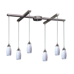 Contemporary 6 Light Pendant In Nickel & Simply White Glass - 33''x7''