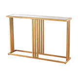 Andy Console Table In Gold Leaf and Clear Mirror