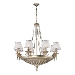 14- Light Chandelier In Aged Silver
