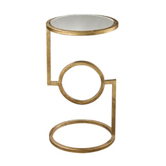 Mirrored Top Hurricane Side Table in Antique Gold Leaf - 12''x12''