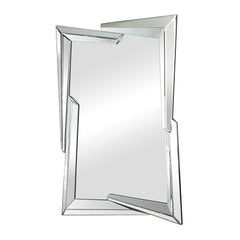 Contemporary Juxtaposed Angles Beveled Edge Mirror