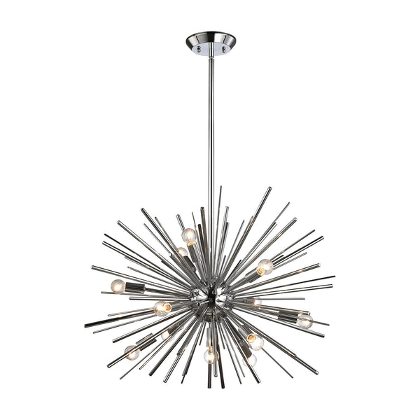 Polished Chrome Starburst 12 Light Pendant In Chrome