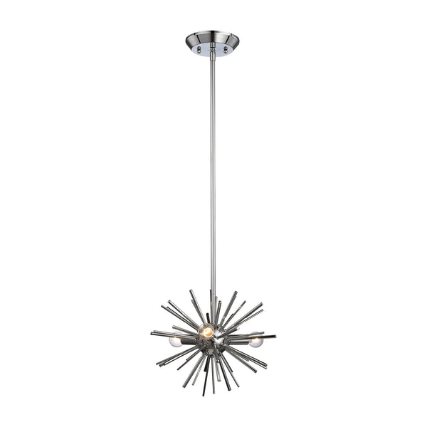 Polished Chrome Starburst 3 Light Pendant In Chrome