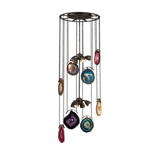 Gallery 8 Light Chandelier In Oil Rubbed Bronze and Brushed Slate