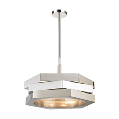 Facet 3 Light Pendant In Polished Nickel