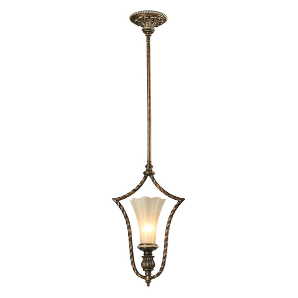 Allesandria Collection 1 light mini pendant in Burnt Bronze/Weathered Gold Leaf