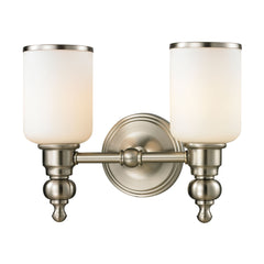 Bristol Collection 2 light bath in Brushed Nickel