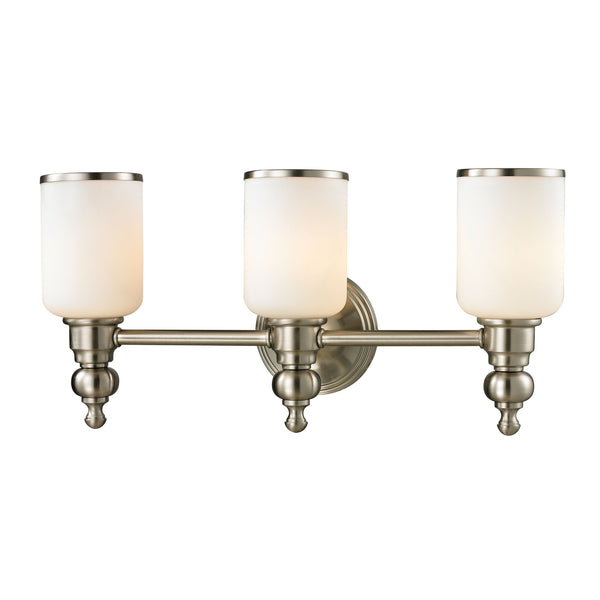 Bristol Collection 3 light bath in Brushed Nickel