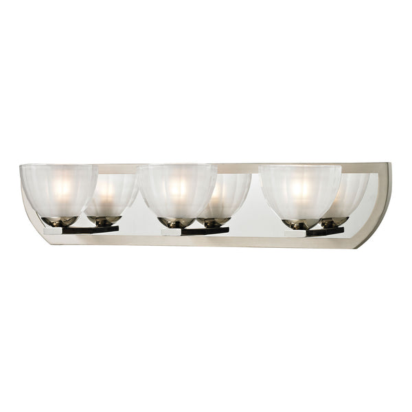 Sculptive Collection 3 light bath in Polished Nickel/Matte Nickel