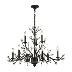 Crystal Branches 9 Light Chandelier In Burnt Bronze