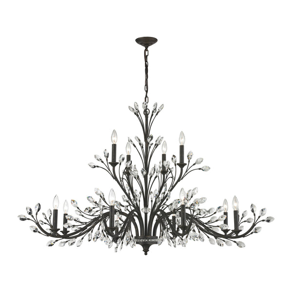 Crystal Branches 12 Light Chandelier In Burnt Bronze