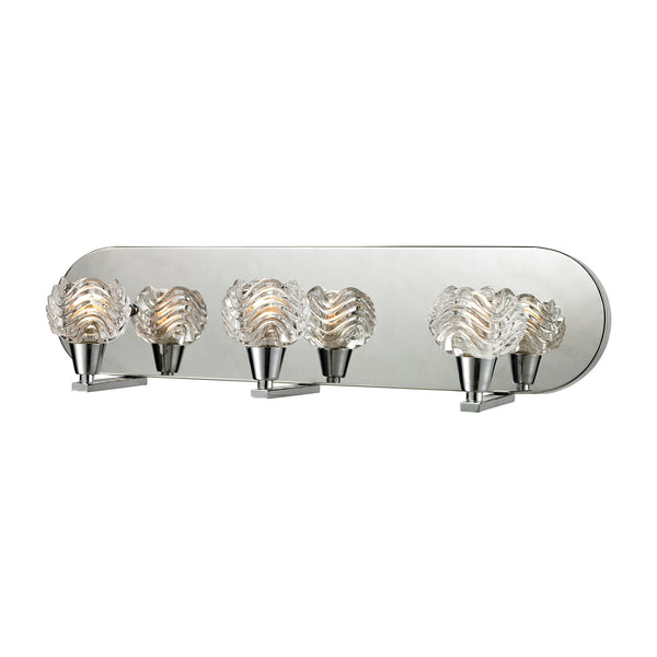 Crystal Wave 3 Light Vanity In Polished Chrome