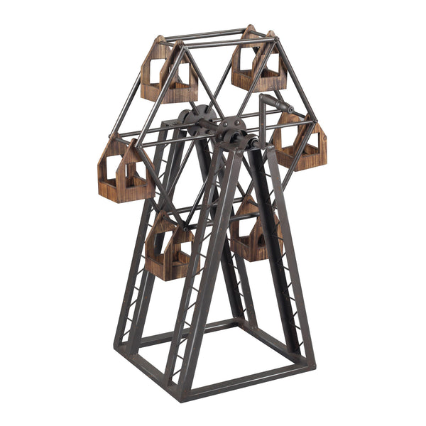 Grey, Rust and Natural Wood Bradworth-Industrial Ferris Wheel Candle Holder